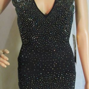 WOW Couture Black V-Neck Rhinestone Dress Openback